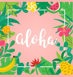 aloha concept hand drawn lettering on pink vector image