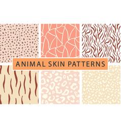 Animal skin bold textures print pattern set vector