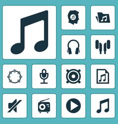 Audio icons set collection of timbrel silence vector