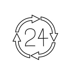 Black silhouette of 24 hours arrow circle icon vector