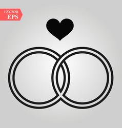 Black wedding rings icon on white vector