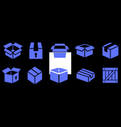 Box flat icons vector
