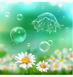 bubbles explosion realistic background vector image