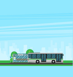 bus stop with city skyline and bus flat design vector image