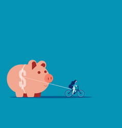 Businesswoman and piggy bank concept business vector