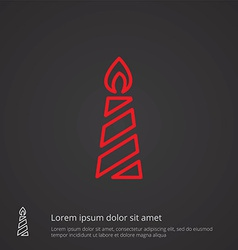 candle outline symbol red on dark background logo vector image