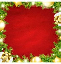 Christmas Red Background With Fir Tree Border vector