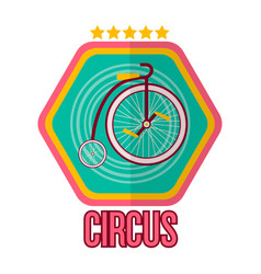 Circus logotype with special bike isolated on vector