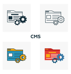 Cms icon set four elements in diferent styles vector