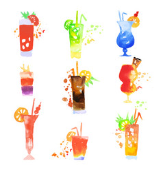 Cocktails set summer drinks watercolor vector