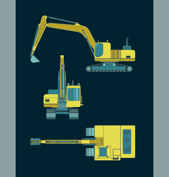 colorful heavy excavator blueprints vector image