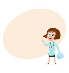 comic woman doctor character with bob haircut vector image