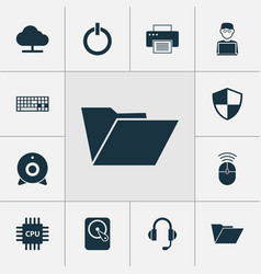 Computer icons set collection of hdd computer vector