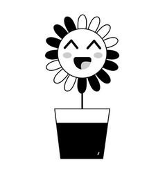 Contour kawaii beauty and happy flower plant vector