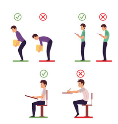 Correct and incorrect back posture infographics vector