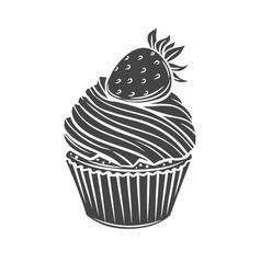 Cupcake glyph icon vector
