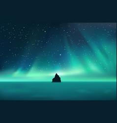 Dark rock against northern lights landscape vector