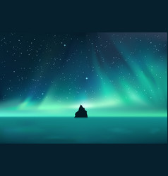 dark rock against northern lights landscape with vector image
