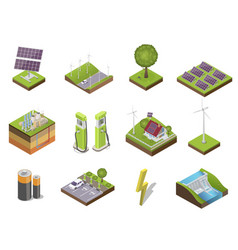 different types and sources alternative energy vector image