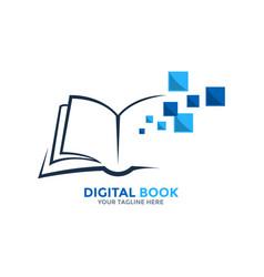 Digital book logo on-line educational blue book vector