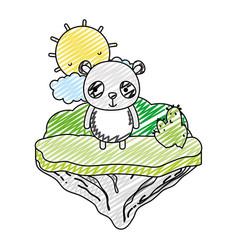 doodle happy panda animal in the float island vector image