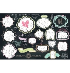 Doodle labels badgesframedecor elementLove set vector