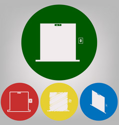 elevators door sign 4 white styles of vector image