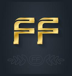F and f - initials or golden logo ff - metallic vector
