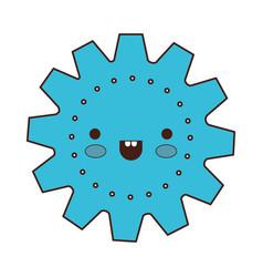 gear machinery cartoon kawaii in colorful vector image