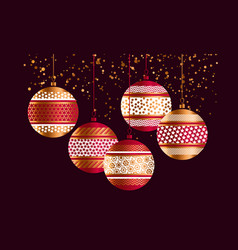 Geometric red and gold xmas baubles vector