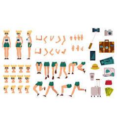 girl tourist creation kit set of different body vector image