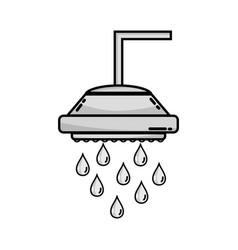 grayscale plumbing tube shower with water drops vector image