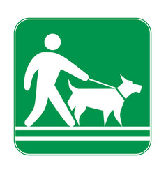 green sign man walking with a dog on a leash vector image