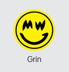 Grin - grin the market logo of coin or market vector