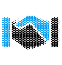 Halftone dot acquisition handshake icon vector