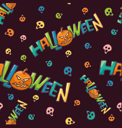 halloween bright seamless pattern colorful vector image