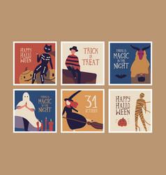 Halloween night banner templates set vector