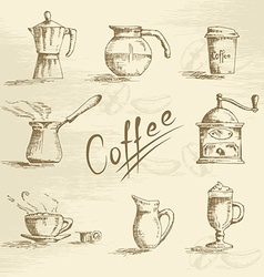 Hand drawn coffee sketch vector