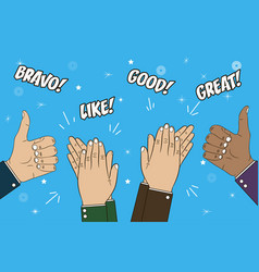 Hands clapping applause and thumb up gesture vector