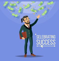 Happy businessman falling money cash rain vector