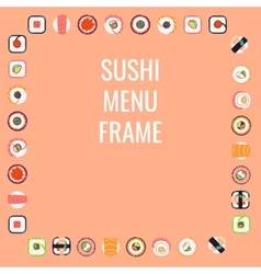 Japanese food sushi menu frame vector image