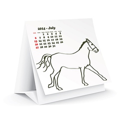 July 2014 desk horse calendar vector image