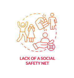 Lack social safety net red concept icon vector