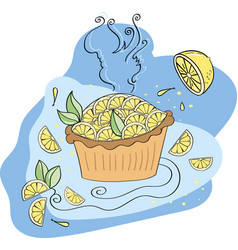 Lemon pie on a blue background vector