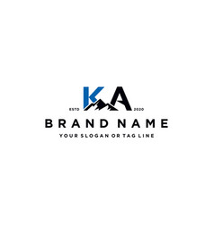 Letter ka mountain logo design vector