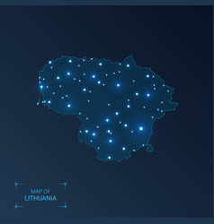 Lithuania map with cities luminous dots - neon vector