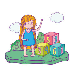 Little girl with blocks of numbers toy in the camp vector