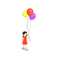 little girl with colorful air balls element vector image