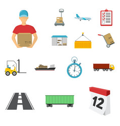logistics service cartoon icons in set collection vector image