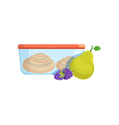Lunch box with biscuits pear and blackberries vector